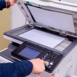 business man hand press button